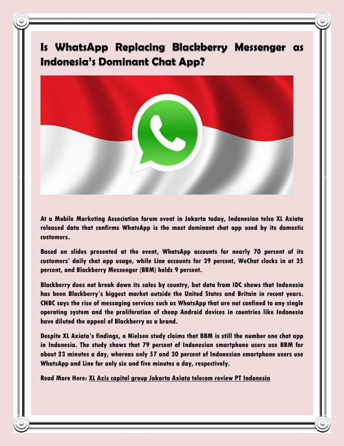 Is WhatsApp Replacing Blackberry Messenger as Indonesia's