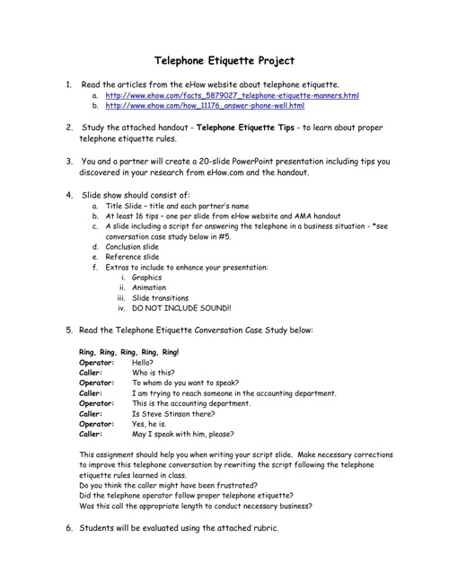 Telephone Etiquette Project & Rubric by kwaltz48 - Flipsnack