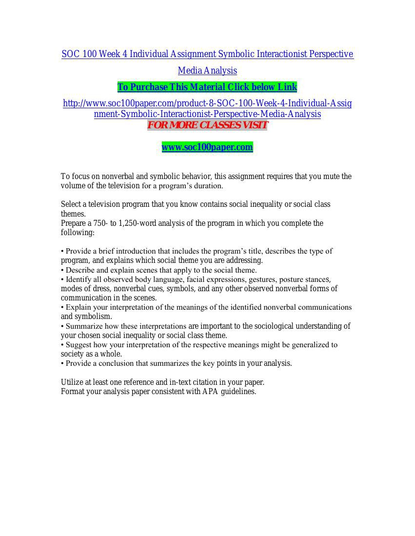 Soc 100 Week 4 Individual Assignment Symbolic Interactionist Per By