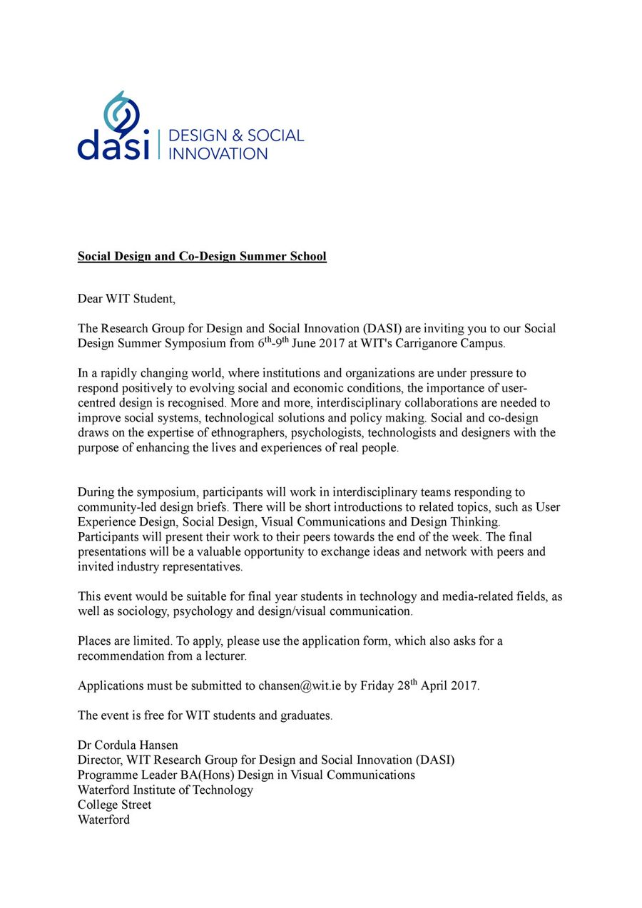 Social design summer school invite letter 2017 by waterfordit next stopboris Choice Image