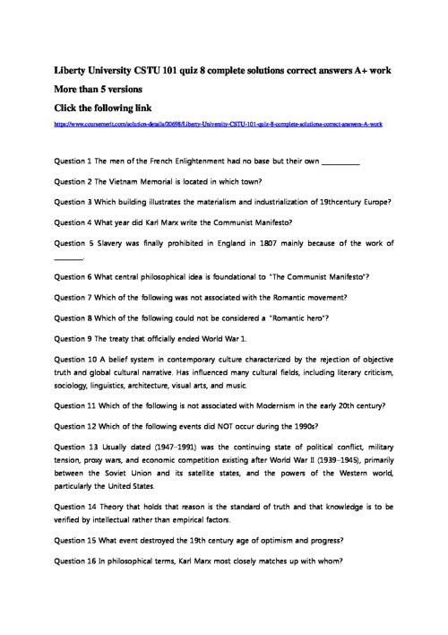 Liberty University CSTU 101 quiz 8 solutions answers A+ by