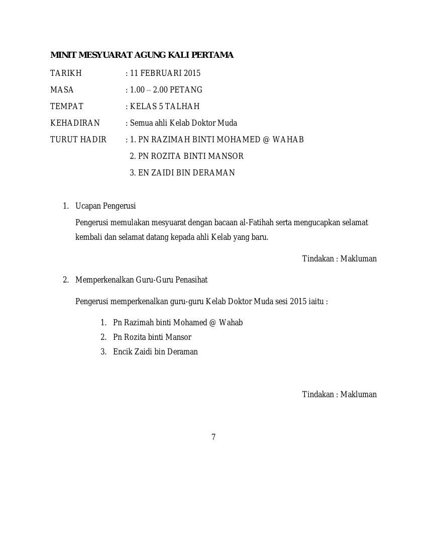 Minit Mesyuarat Agung Kali Pertama By Tarmizi Razali Flipsnack