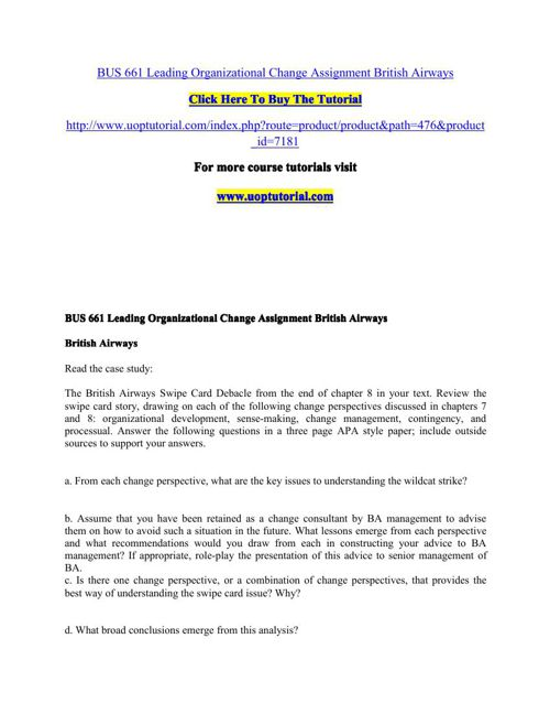 BUS 661 Leading Organizational Change Assignment British Airways by