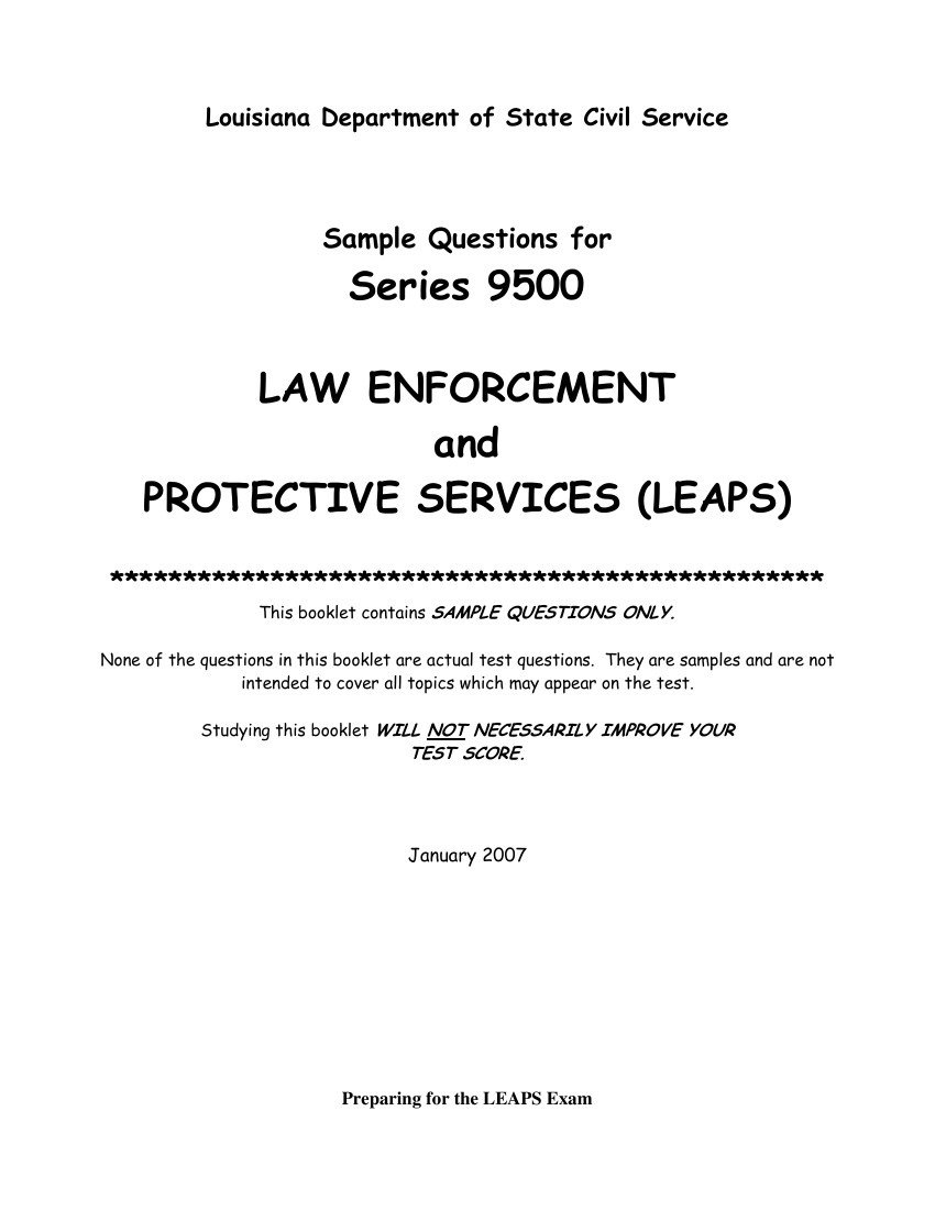 Sample Questions for Series 9500 LAW ENFORCEMENT PROTECTIVE by Bob -  Flipsnack