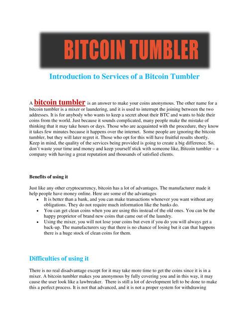 Bitcoin Tumbler, bitcointumbler - Flipsnack