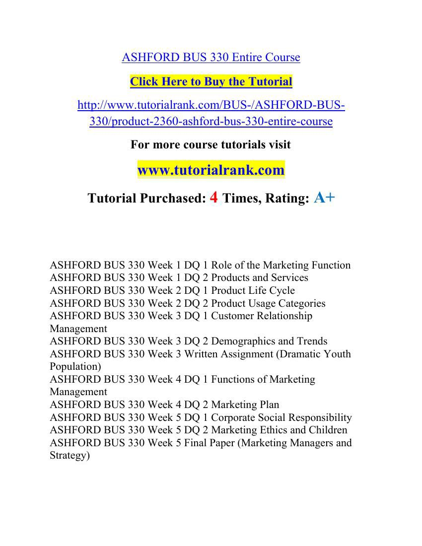 bus 330 principles of marketing final paper The final paper: 1 must be eight- to ten- double-spaced pages in length, and formatted according to apa style as outlined in the ashford writing center (not including the title and reference pages.