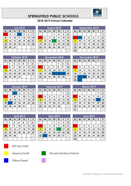 2018-2019 payroll calendar by springfield