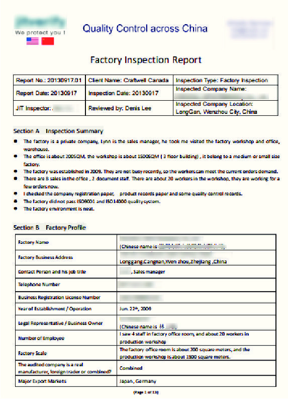 Factory Inspection Report Sample By Craftwell  Flipsnack