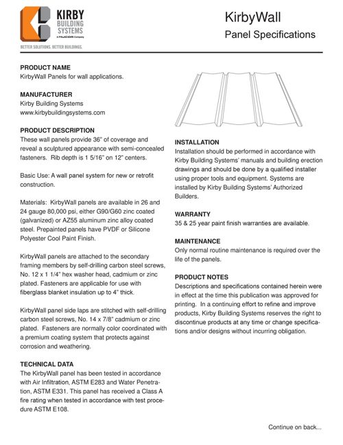 KirbyWall Panel Specifications