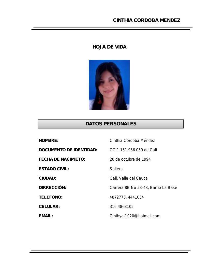 HOJA DE VIDA CINTHYA modificada by Cinthya Cordoba... - Flipsnack