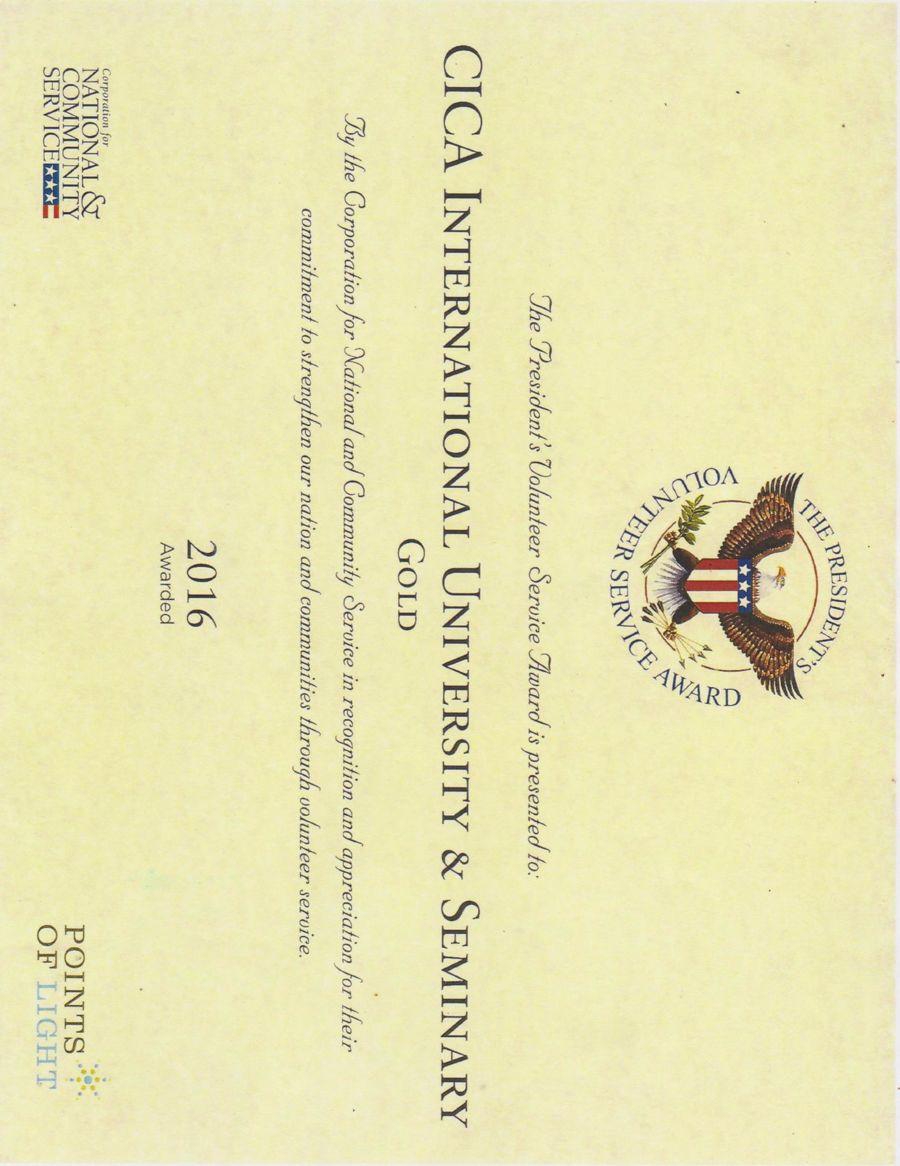Cica International University Seminary Presidential Gold Awar By