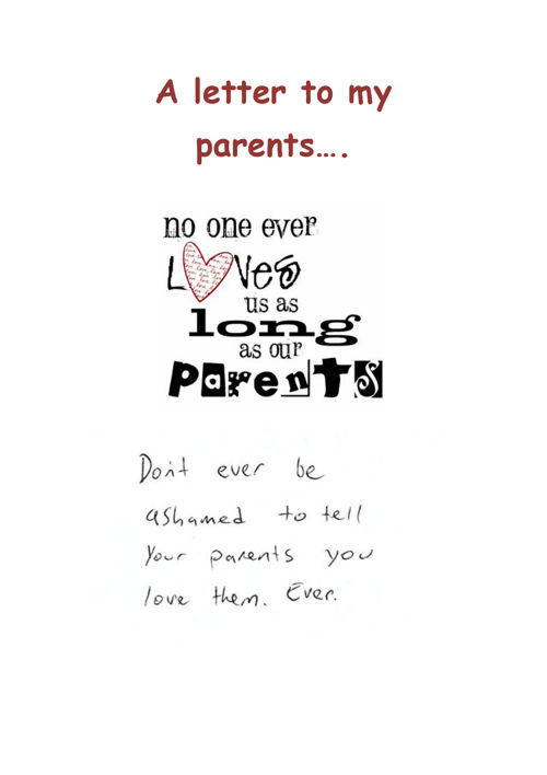 A letter to my parents