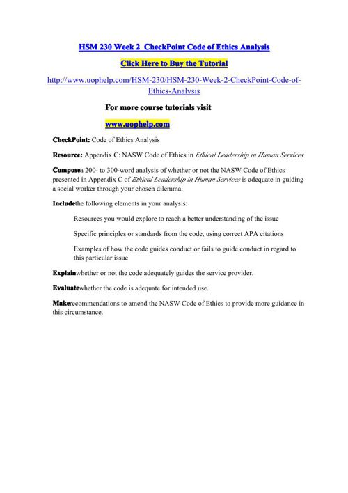 HSM 230 Week 2 CheckPoint Code of Ethics Analysis by 9EBE9CCA9F7