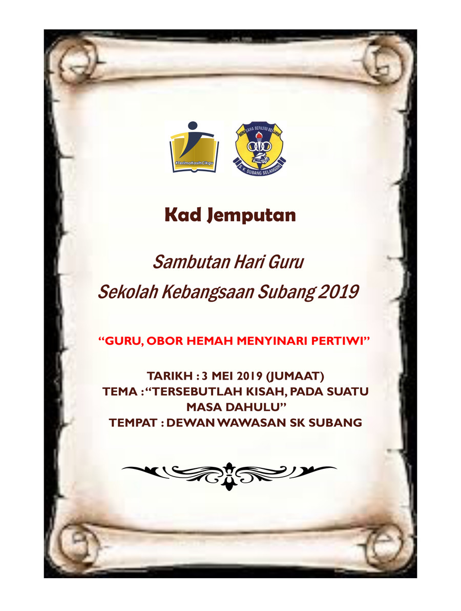 Kad Jemputan Hari Guru 2019 By Ramdzatul Aida Flipsnack