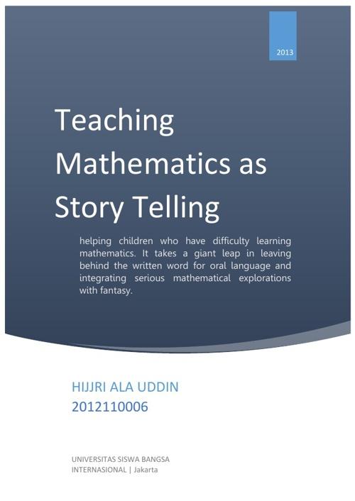 Teaching Mathematics as Story Telling