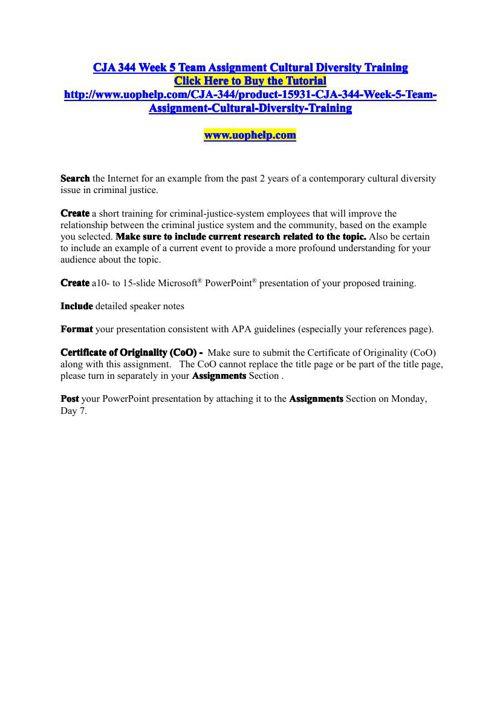 cja 344 week 5 team assignment cultural diversity training