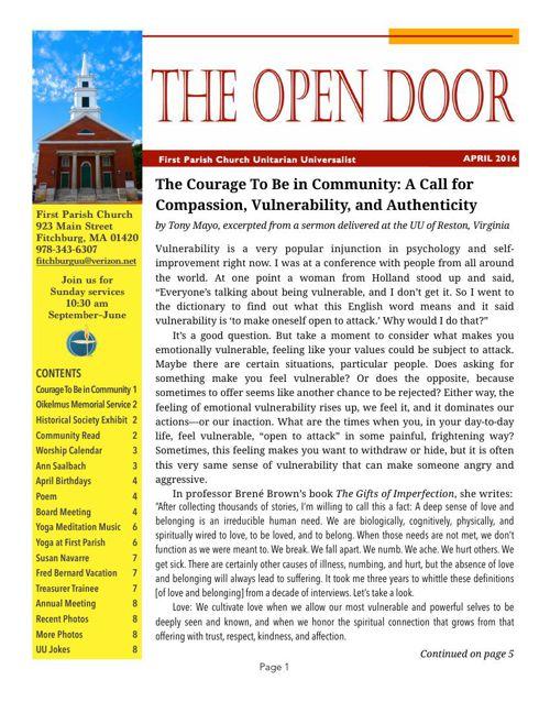 Open Door - APRIL 2016 by First Parish - Flipsnack