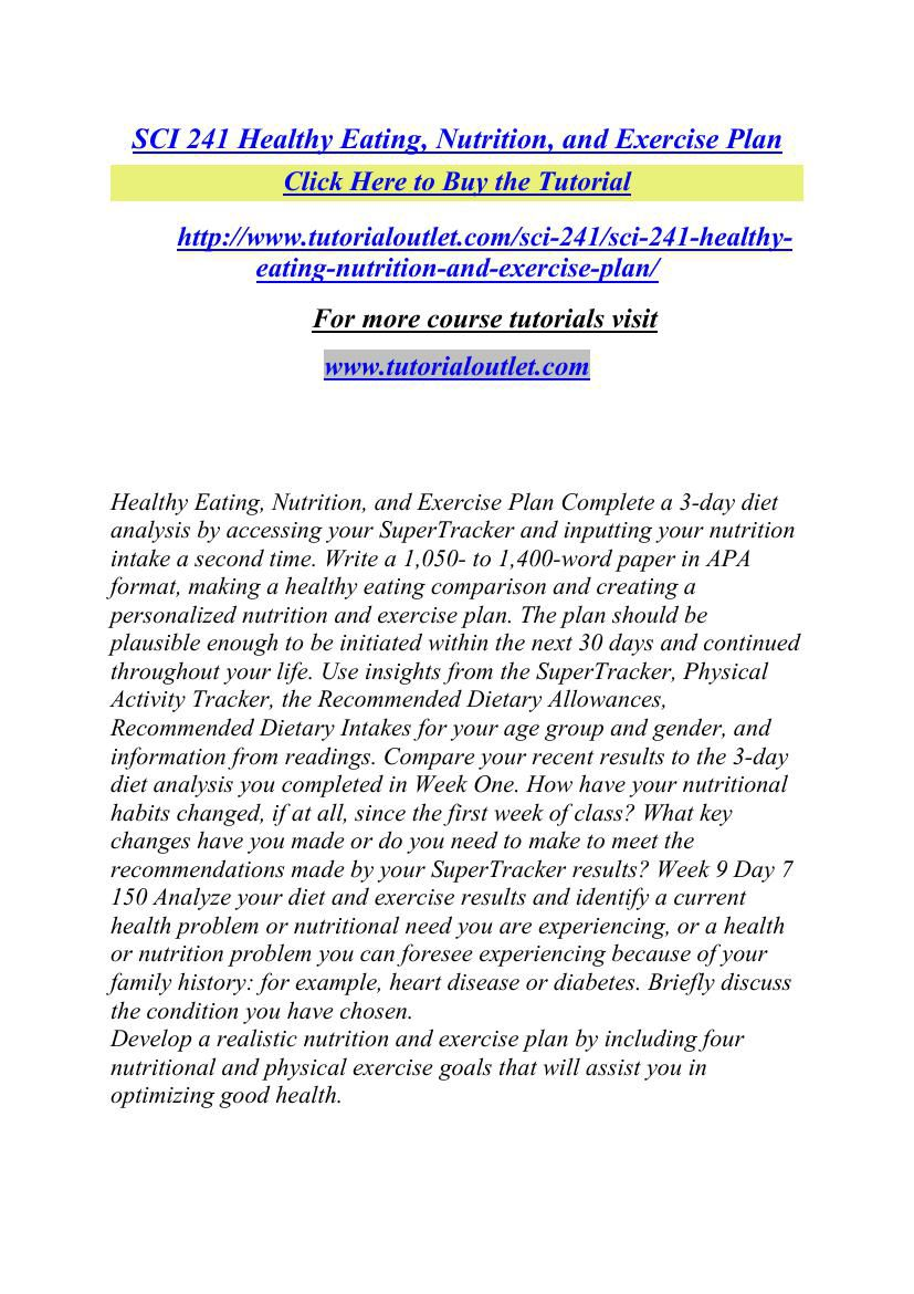 personalized nutrition and exercise plan sci 241 Download the app or take our free online assessment to get personalized nutrition, fitness, and lifestyle advice developed in partnership with leading urologists and backed by the latest scientific literature, research, and medical guidelines.