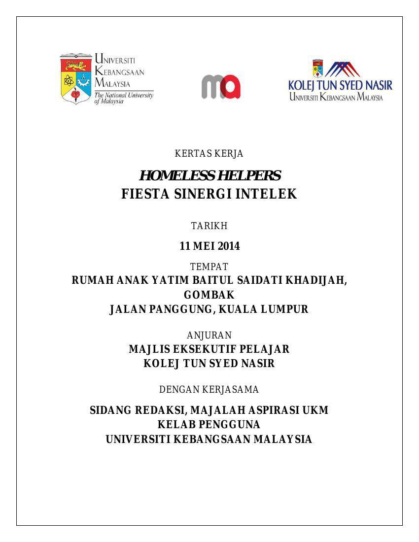 Kertas Kerja Homeless By Siti Hanisa Flipsnack