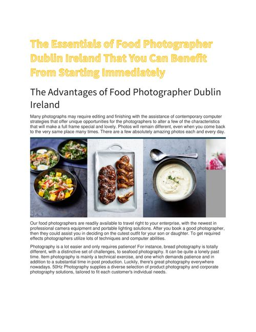 The Essentials of Food Photographer Dublin Ireland That You
