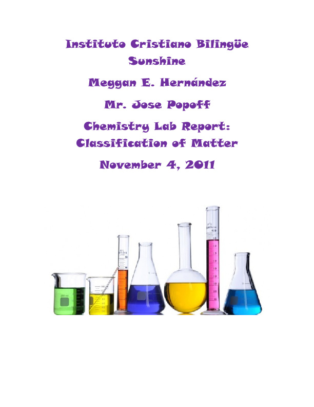 Chemistry Lab Report Classification Of Matter By Megganhernandez