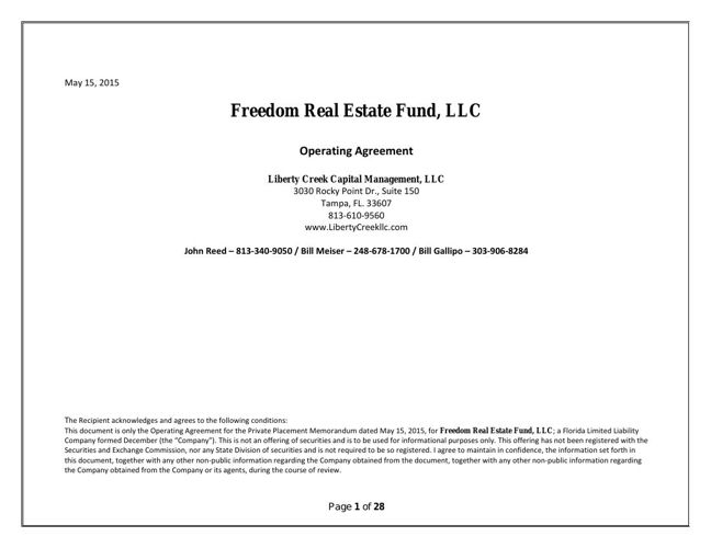 Discovery Real Estate Fund Final Landscape Operating Agreement By