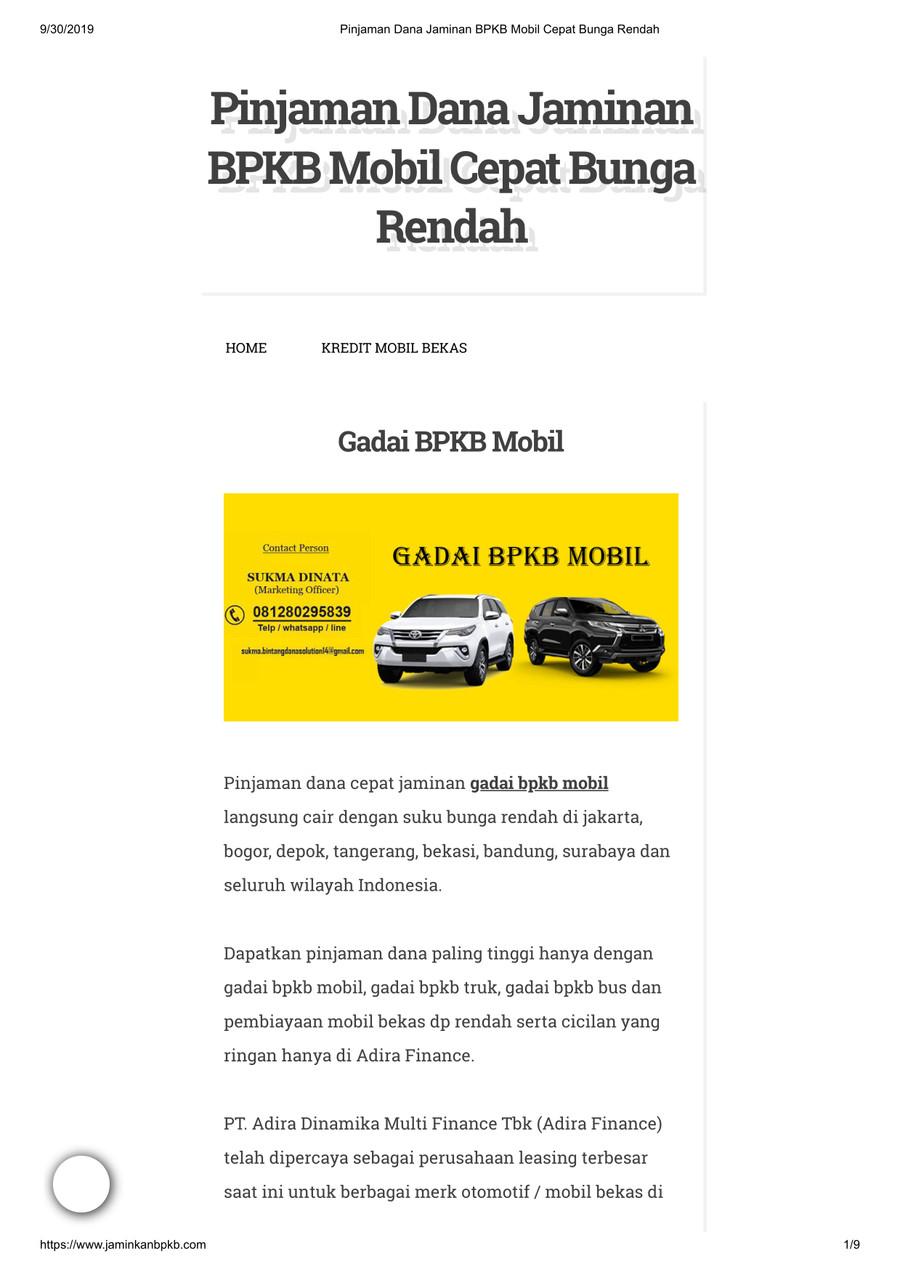 Pinjaman Jaminan BPKB Mobil Bunga Rendah by jaminkanbpkb ...