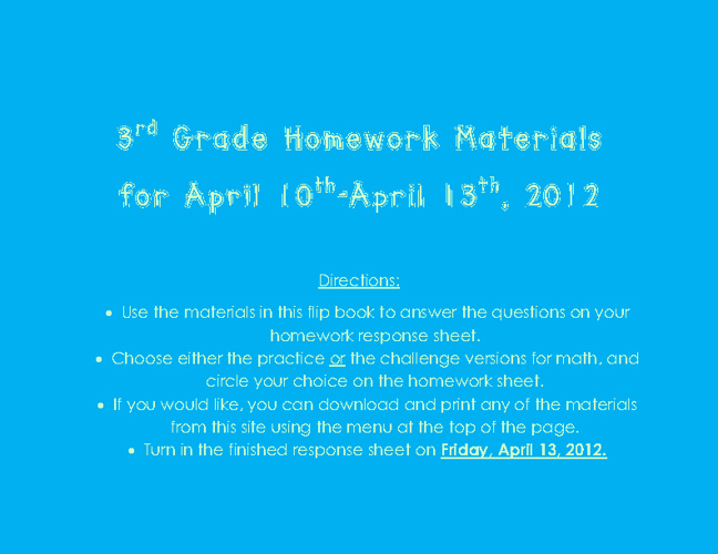 Homework materials for the week of March 26th by Melissa White ...