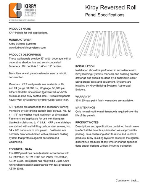 Reversed Roll Panel Specifications