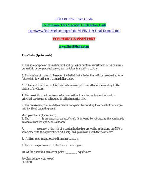 FIN 419 Final Exam Guide by veeru20 - Flipsnack