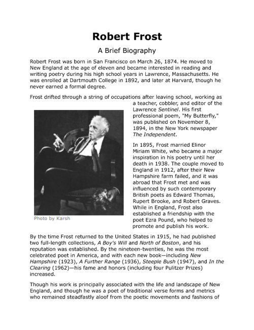 a biography of robert frost The nook book (ebook) of the robert frost: a biography by greame c at barnes & noble free shipping on $25 or more 10% off your order with code yesway.
