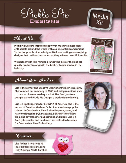 Pickle Pie Designs, Lisa Archer, Media Kit by Pickle Pie