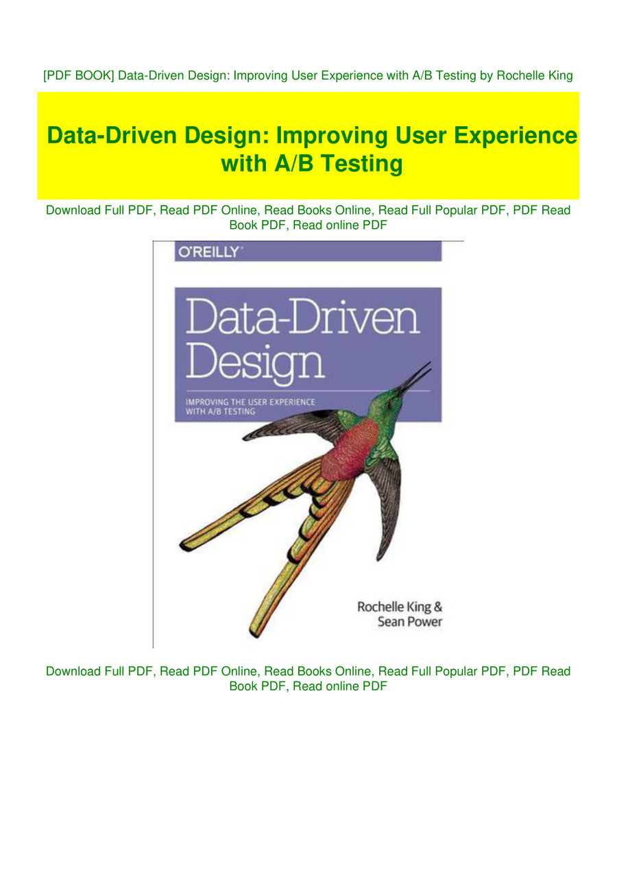 Pdf Book Data Driven Design Improving User Experience With A By Grizcoatla17 Flipsnack