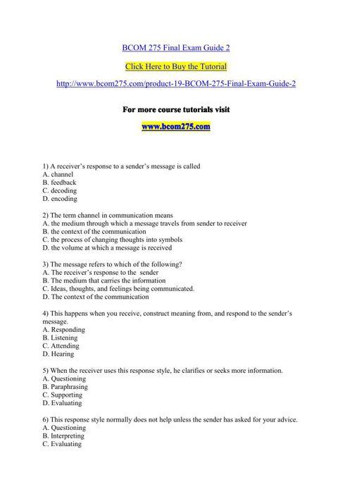 BCOM 275 Final Exam Guide 2 by vasanthi19 - Flipsnack