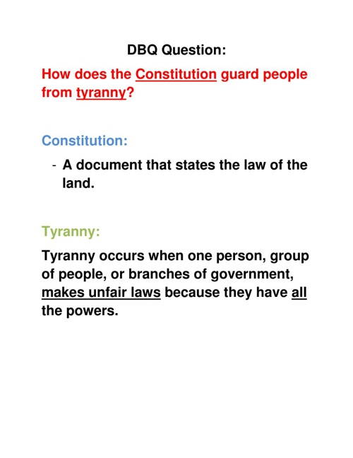 how does the constitution protect against tyranny